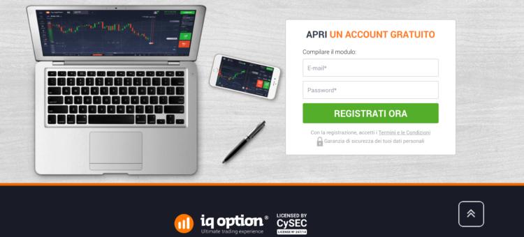 IQ option login iscrizione conto demo